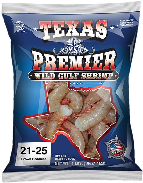 Texas Premier Wild Caught Gulf Shrimp <span>Headless & EZ</span> Peel Packaging