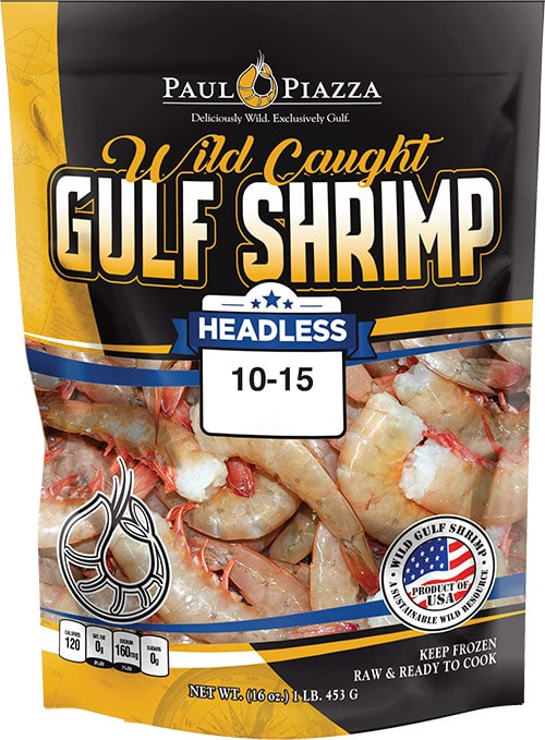 Wild Caught Gulf Shrimp Headless Packaging