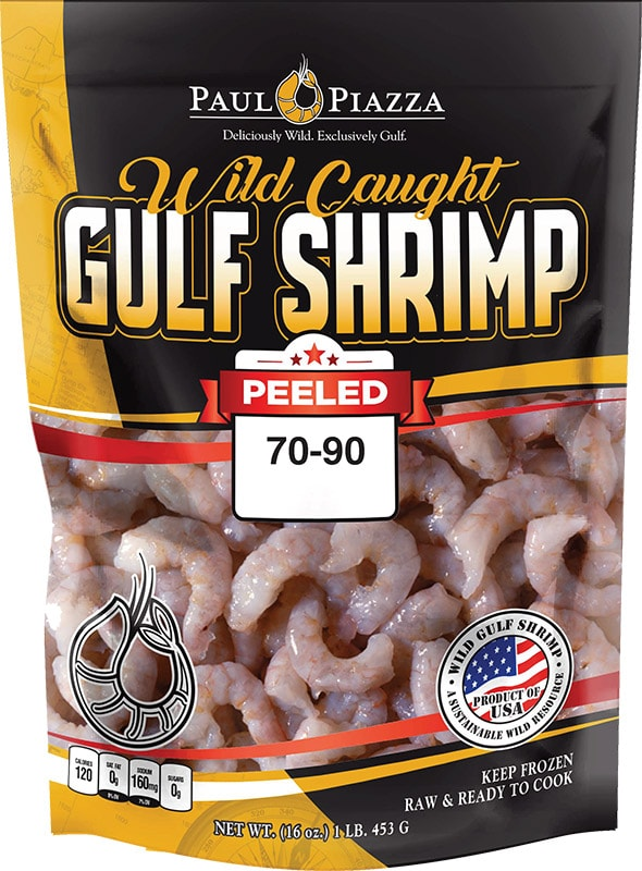Wild Caught Gulf Shrimp Peeled Packaging