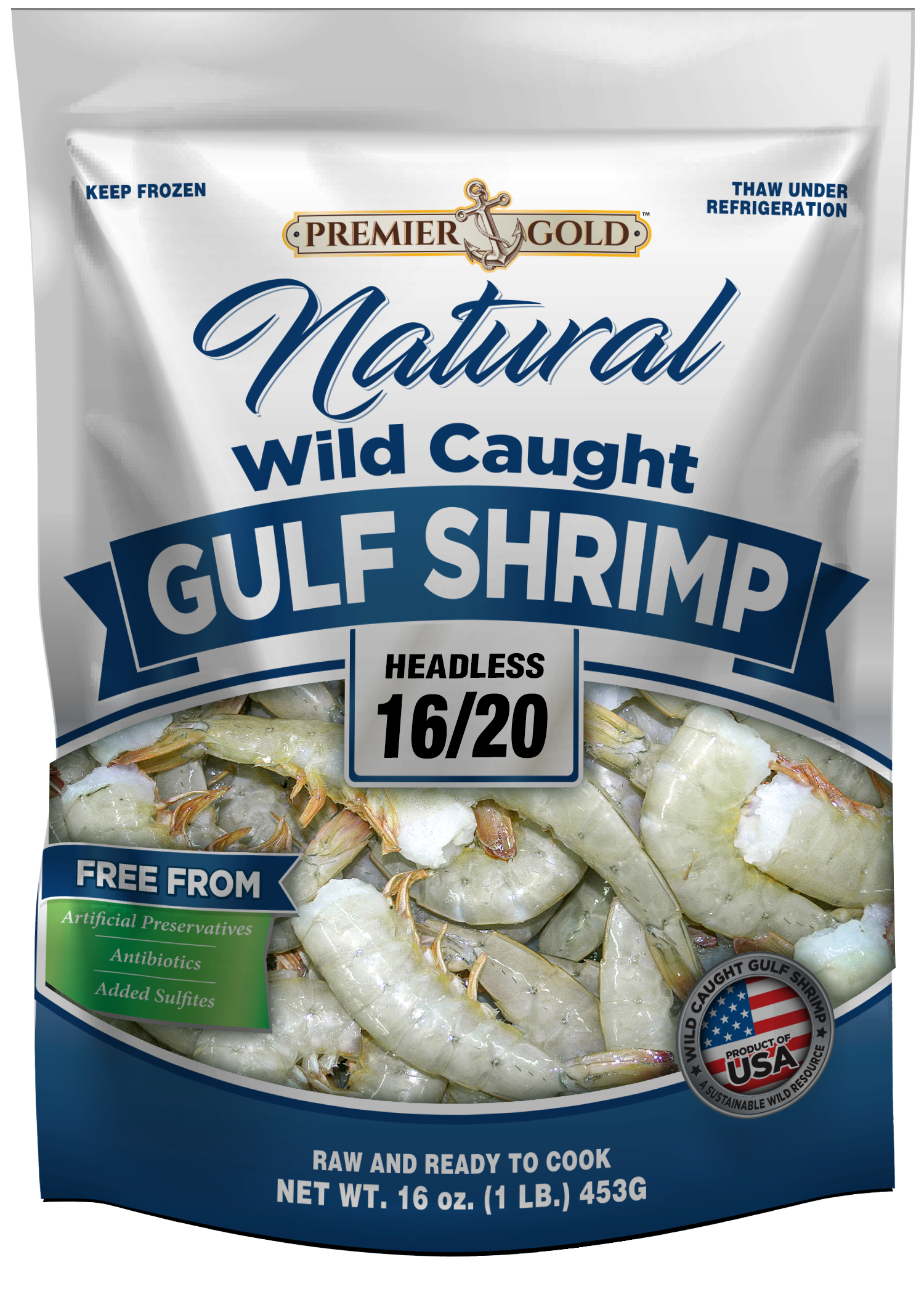 Premier Gold Natural Wild-Caught Gulf Shrimp <span>Headless and Peeled & Deveined</span> Packaging