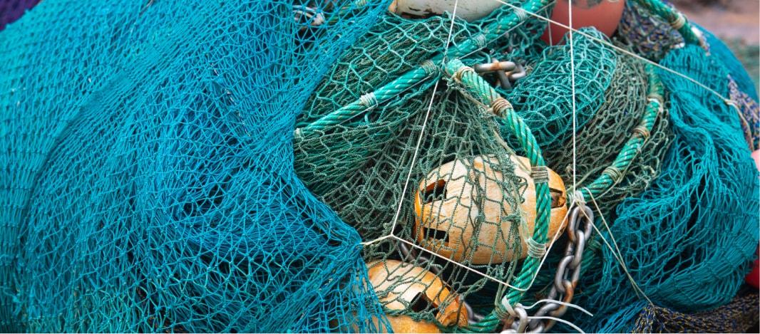 Blue nets on a dock