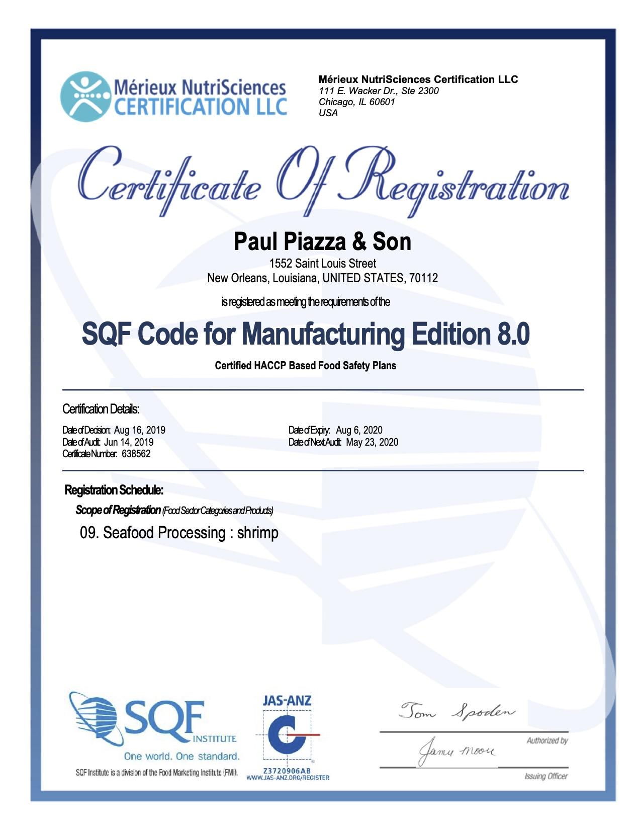 sqf piazza paul certification score receives highest possible plants both sons shrimp