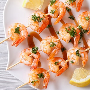 A plate of shrimps on skewers- beautiful and provide skin protection