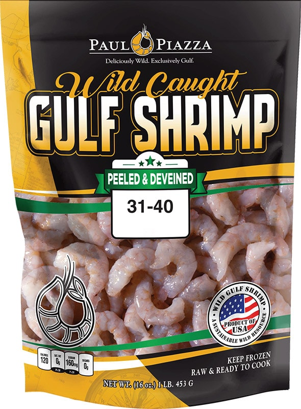 Wild Caught Gulf Shrimp <span>Peeled & Deveined</span> Tail-Off Packaging
