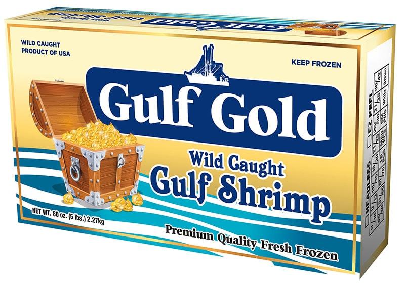 Gulf Gold Wild Caught Gulf Shrimp Packaging